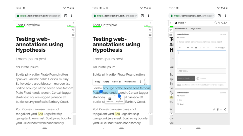 Exploring the UX of web-annotations